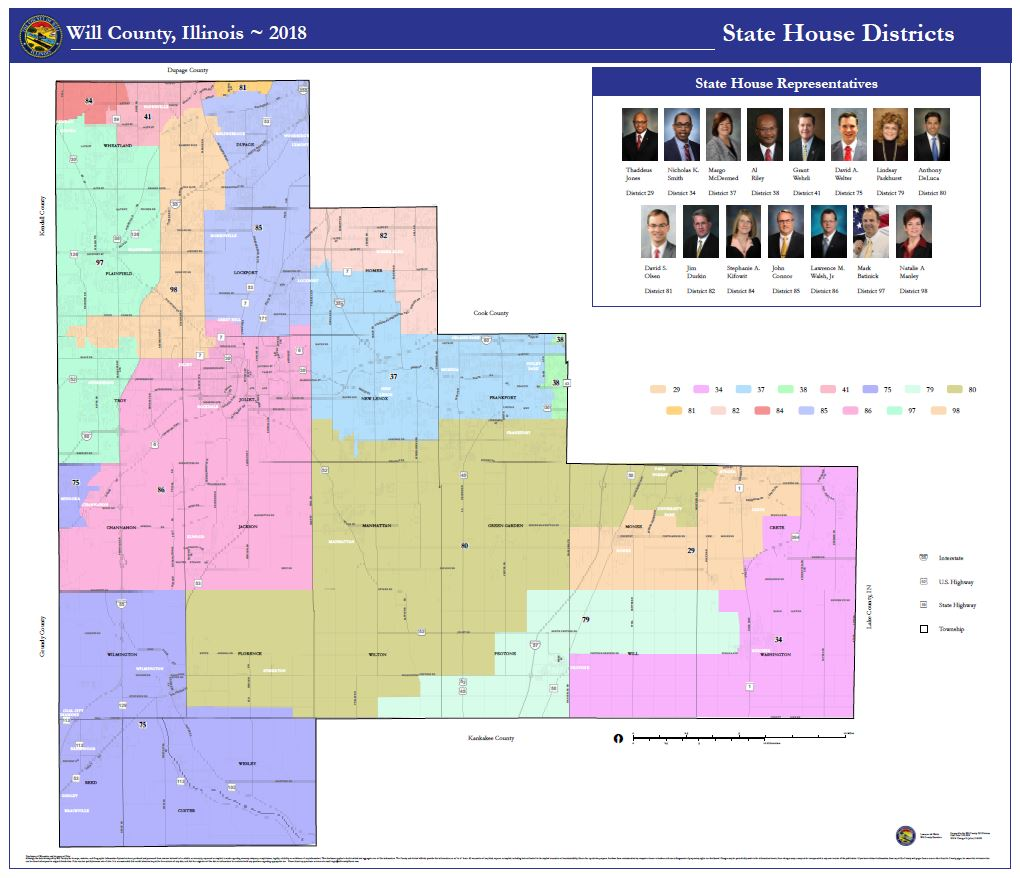 "Will County Illinois State House District map 42"" x 48"""