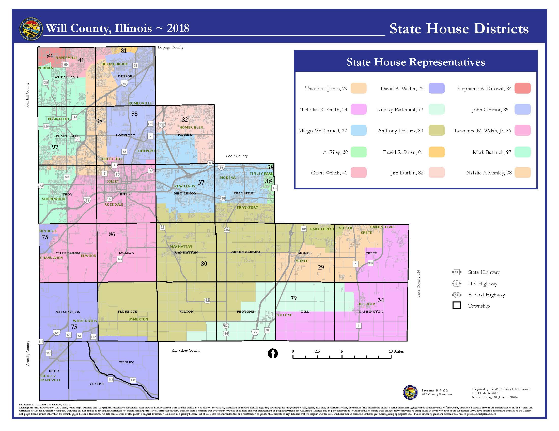 Will County Illinois State Senate District map 8x11
