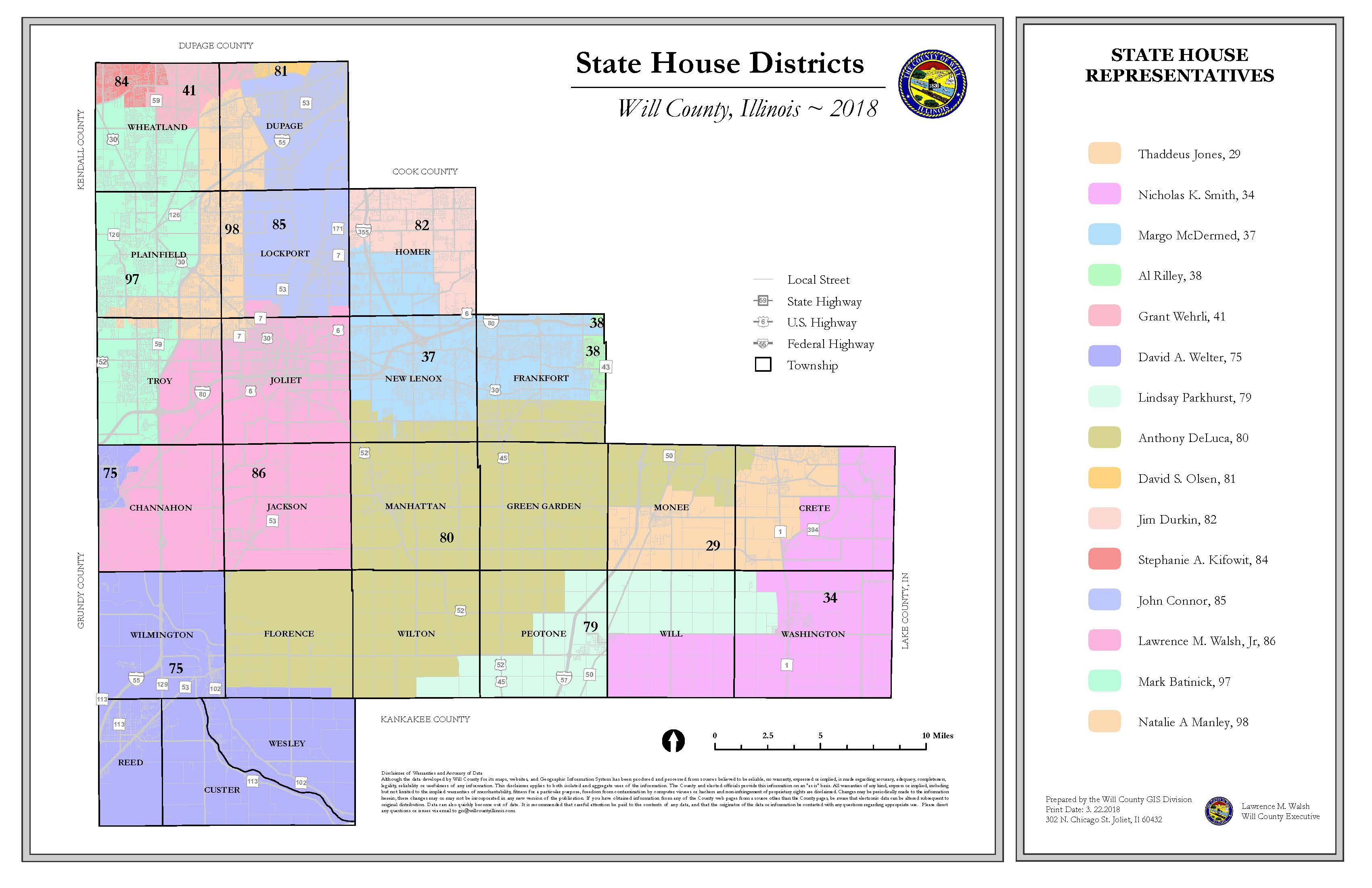 Will County Illinois State House District map 11x17
