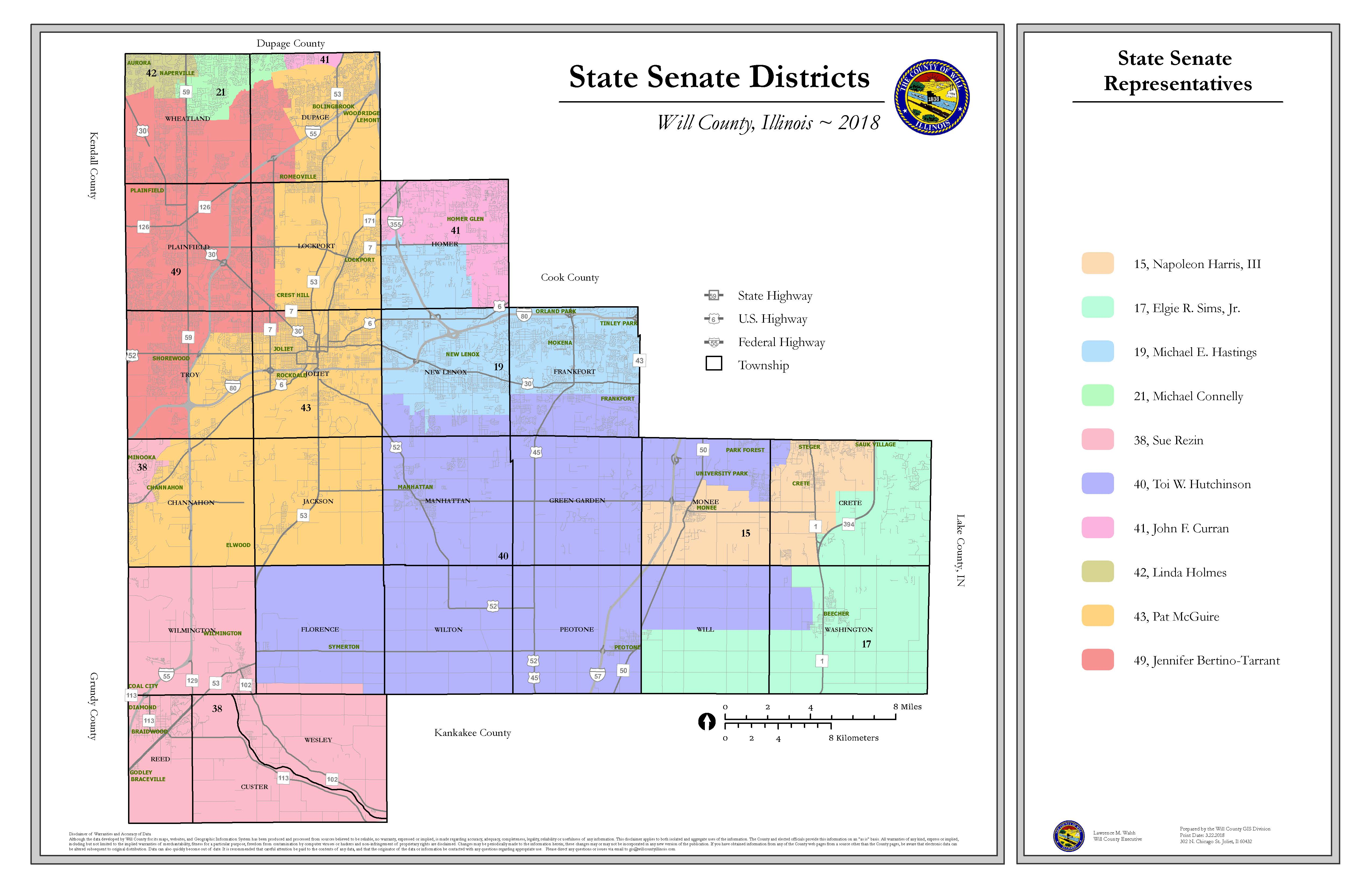Will County Illinois State Senate Districts map