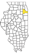 Illinois Counties Map highlighting Will County